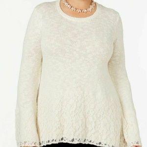 Style & Co Lace Metallic Sweater 3X New